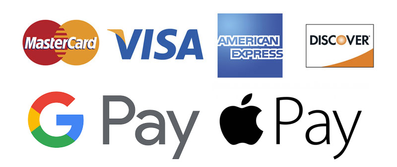 Payments are accepted from Mastercard, VISA, American Express, Discover, Googlepay and Apple Pay